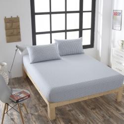 巴克庄园全棉色织水洗棉单床笠床单席梦思保护套30cm天兰小格