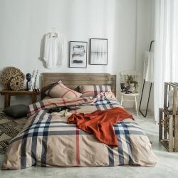 欧麦家家纺 无印新款全棉水洗棉四件套床单款 巴宝莉大格