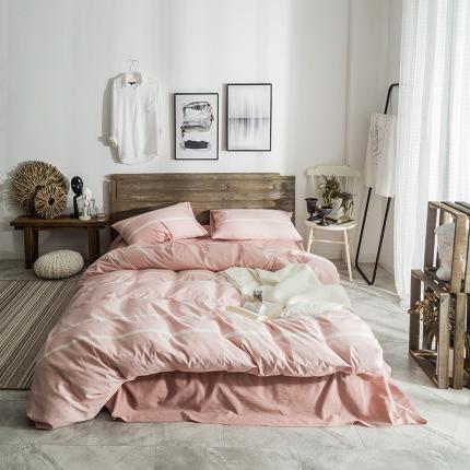 欧麦家家纺 无印新款全棉水洗棉四件套床单款 粉梨
