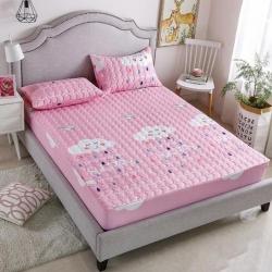 皇朵家纺卡通底布带防滑颗粒夹棉床笠加厚加棉床罩保护套粉色云朵