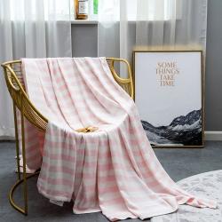 麻时代 竹纤维纱布毯条纹海韵系列 海韵粉