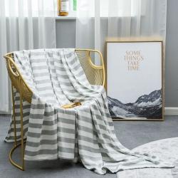 麻时代 竹纤维纱布毯条纹海韵系列 海韵灰