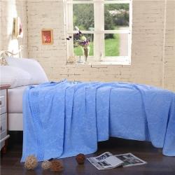 欣语轩家纺 2019新款老式毛圈毛巾被欧窗深蓝色