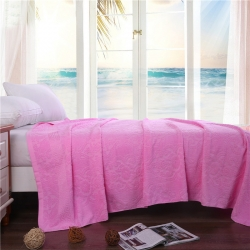 欣语轩家纺 2019新款老式毛圈毛巾被欧窗亮粉色