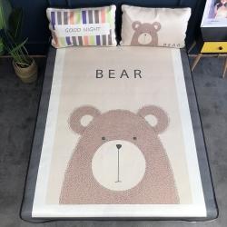 奇葩朵朵 大版数码印花冰丝凉席 北欧熊