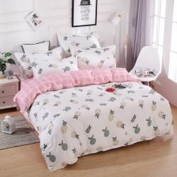 莱仕家纺 柔软舒适芦荟棉四件套床单款 菠萝派对