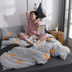 忆生活 2019全棉简约青春系列四件套 格子橙