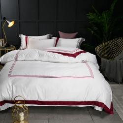 蔓丝雅家纺 五星酒店床单式直线绣系列四件套 激情庞贝-红