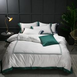 蔓丝雅家纺 五星酒店床单式直线绣系列四件套 绿野青蔓