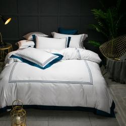 蔓丝雅家纺 五星酒店床单式直线绣系列四件套 玛格丽-孔雀蓝