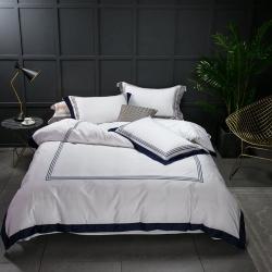 蔓丝雅家纺 五星酒店床单式直线绣系列四件套 魅蓝空间