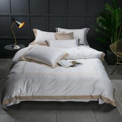 蔓丝雅家纺 五星酒店床单式直线绣系列四件套 纳瓦霍-金