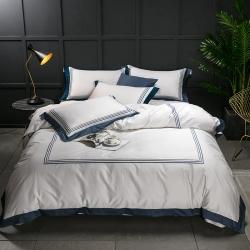 蔓丝雅家纺 五星酒店床单式直线绣系列四件套 绮梦-灰蓝
