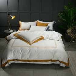 蔓丝雅家纺 五星酒店床单式直线绣系列四件套 绅士探戈