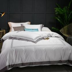 蔓丝雅家纺 五星酒店床单式直线绣系列四件套 圣托里尼-灰