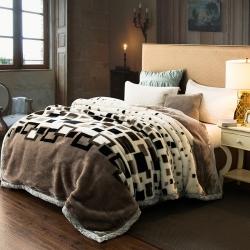尚品凤凰 拉舍尔毛毯 661黑白方格