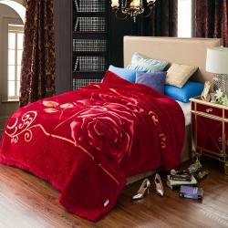 尚品凤凰 拉舍尔毛毯 1077大红