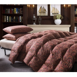 羽绒被  鹅绒被  羽绒枕  羽绒床垫 柔赛丝印花被 咖