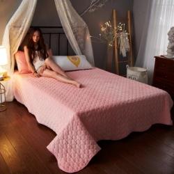 舒居家纺 暖绒纯色水晶绒床盖 玉色