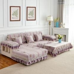 加厚雪尼尔沙发垫欧式布艺真皮沙发套靠背巾