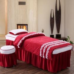 秋冬水晶绒美容床罩四件套美容院按摩理疗床床罩四件套