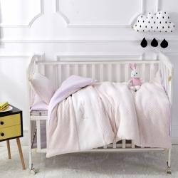 御棉坊 针织彩棉婴童套件幼儿园被子三件套/六件套 小猫粉