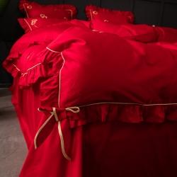 MH黑白森林 60支长绒棉四件套贡缎纯棉全棉刺绣四件套六件套