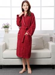 纯棉毛巾布面料成人浴袍