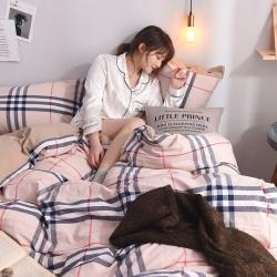 (总)全棉色织水洗棉简约日式格子纯色纽扣款纯棉水洗棉四件套