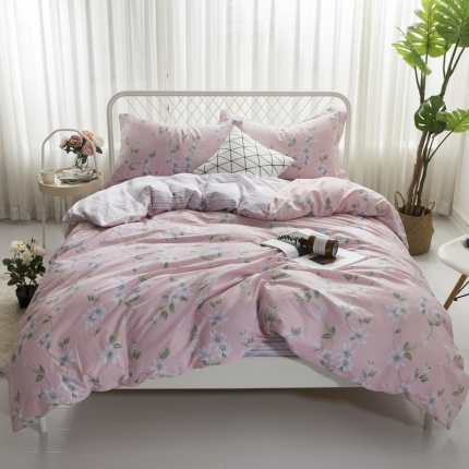 寐怡家纺 全棉活性四件套床上用品 纯棉套件-甜蜜之旅-红