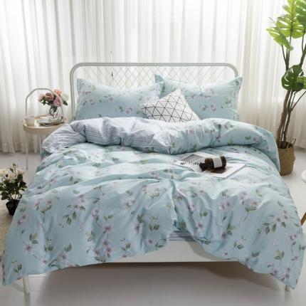 寐怡家纺 全棉活性四件套床上用品 纯棉套件-甜蜜之旅-兰