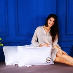 沃兰国际 原创全棉贡缎刺绣护颈立体枕芯安睡助眠枕头(小蜜蜂)