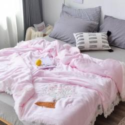 爆!傲蕾良品双面兰精天丝蕾丝小鹿刺绣空调被夏被可机洗水洗粉色