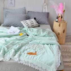 爆!傲蕾良品双面兰精天丝蕾丝小鹿刺绣空调被夏被可机洗水洗绿色