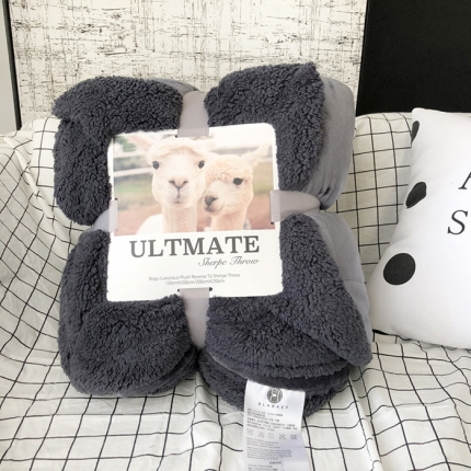卜古家纺 ULTMATE羊羔绒毛毯升级版 深空灰