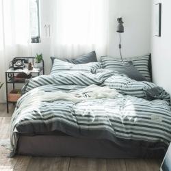 北欧简约色织水洗棉—费蕾蓝