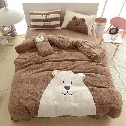 高端法兰绒贴布绣工艺款 四件套床单 床上用品