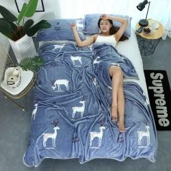 双面绒加厚云貂绒毛毯 床单 法莱绒毯子 枕芯  云貂绒枕套