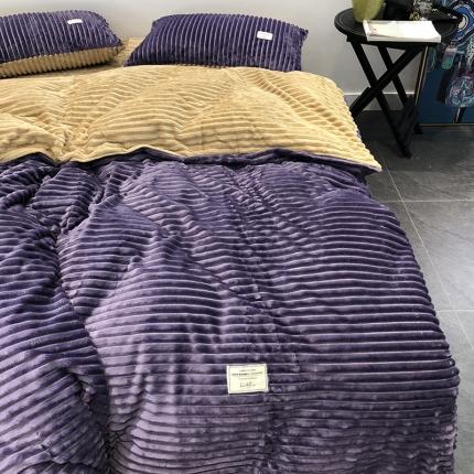涞乐家纺魔法绒四件套紫+驼