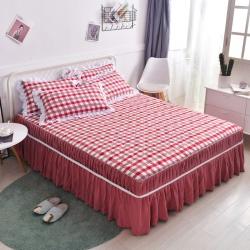 【总】法澳家居 无印风斜纹水洗棉夹棉床裙床罩单件