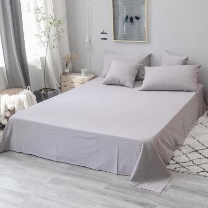 柠萌家居 全棉色织水洗棉单床单无印良品风床单纯色