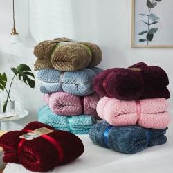 (总)来菲 2018新款同色麦穗提花羊羔绒毛毯