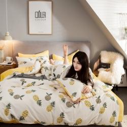 慕梵2018新品全棉法莱绒四件套纯棉单被套法兰绒水晶绒棉加绒