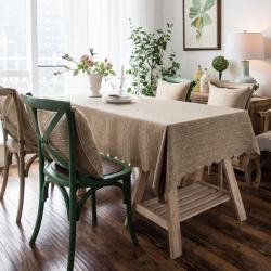 2018款粗麻双面品质桌布台布茶几布餐桌布艺酒店宾馆