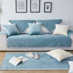北欧短毛绒沙发垫加厚布艺防滑客厅坐垫简约现代全包沙发套罩巾
