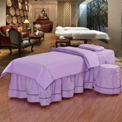 娇奢新品奢华高贵磨毛美容床罩套件简约风美容院床罩床套支持订制