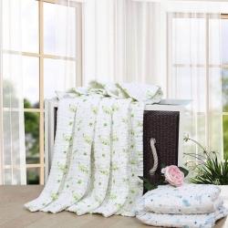 吖噢 十二层全棉纱布绗缝加厚婴童用品童被 浴巾 盖被盖毯