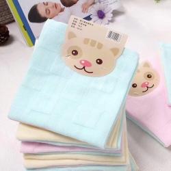 吖噢 全棉纱布宝宝婴幼儿口水巾 方巾卡 三条卡装30*30