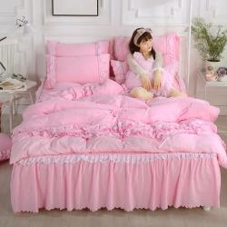 水洗棉蕾丝床裙四件套