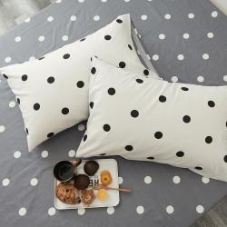 【总】寝柔ins全棉枕套一对装纯棉斜纹单人枕头套 爱心波点